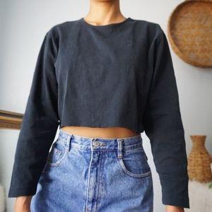 Cropped Lauren Ralph Lauren Long Sleeve Top Medium